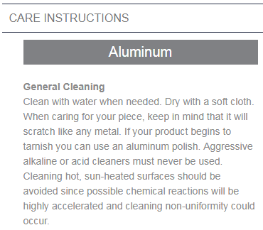 aluminum care instructions
