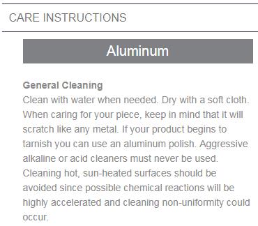 aluminum care instructions