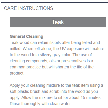 cali teak care instructions