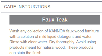 faux teak care instructions
