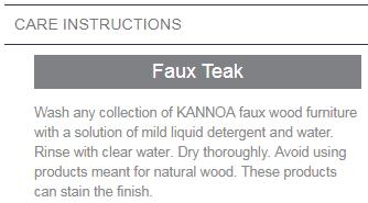 faux teak care instructions