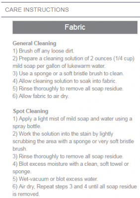 sunbrella care instructions