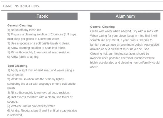 toledo materials care instructions