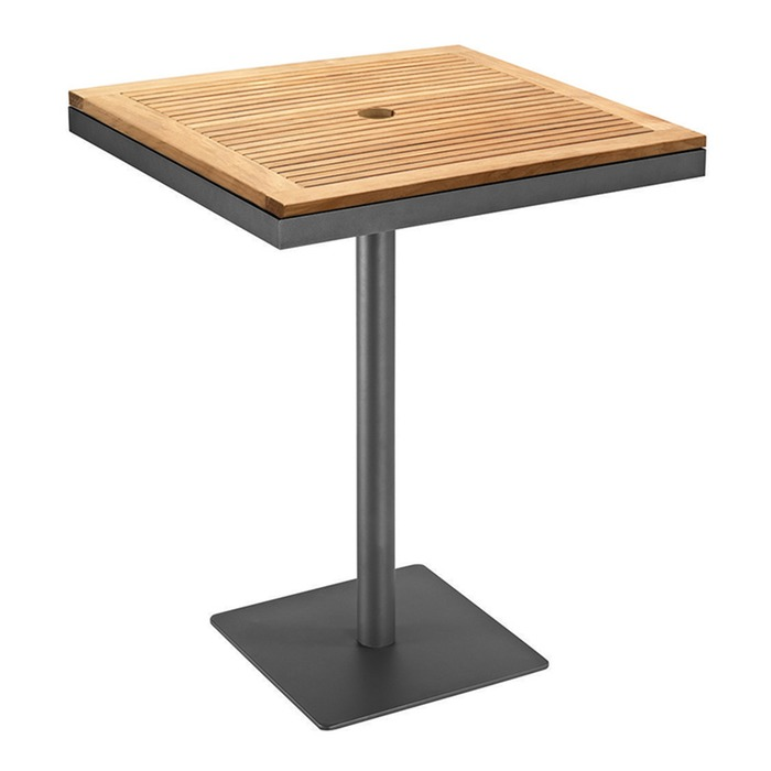 Gloster Azore Square Pedestal Bar Table Teak Top