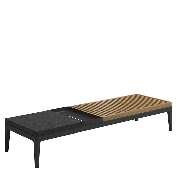 coffee table teak white - Gloster Grid Coffee Table With Teak & Stone Top - The Patio District