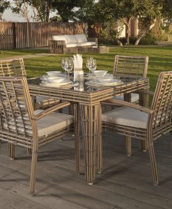 Topaz square dining set taupe