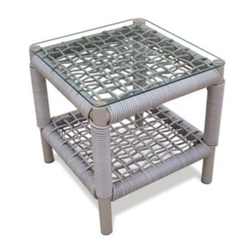 Kannoa Taos Side Table With Glass The Patio District